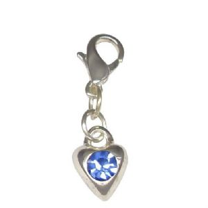 Blue Cubic Zirconia Heart Shaped Clip On Charm (1)